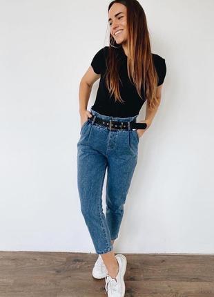 Женские джинсы багги с пояском