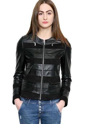 Куртка кожа женская короткая черная на змейке распродажа бренда турция