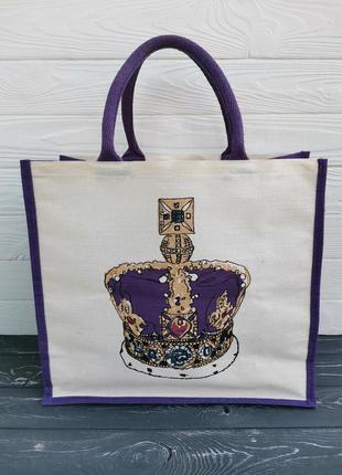 Большая удобная сумка - shopper из холщовой ткани
