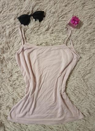 Женская майка розовая на шлейках