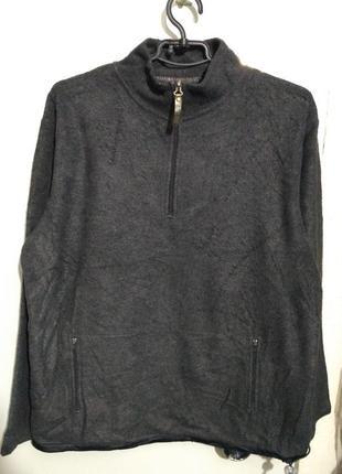 Серый флисовый свитер, кофта на короткой молнии размер м
