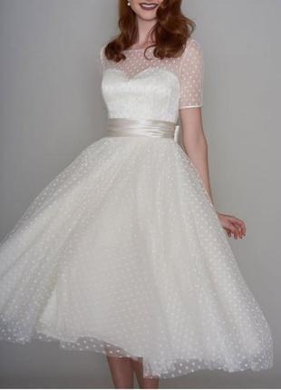 Свадебное платье в горошек ниже колен с рукавами для росписи св-22704