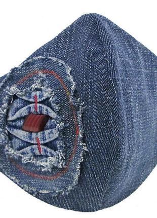 Маска дизайнерская защита захист носовой зажим коттон джинс декор мв-43