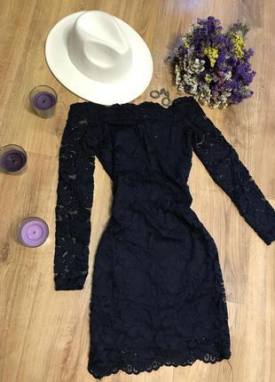 Кружевное / ажурное темно-синее платье мини