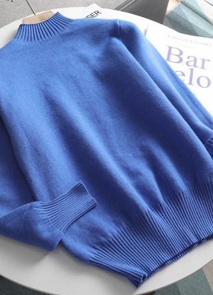 1012/1 свитер/пуловер теплый, бархатный с мехом внутри синий