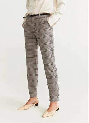 Бежевые серые штаны брюки в клетку деми талия на резинке стрелками высокая талия посадка