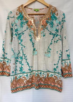 Кофта туника рубашка с принтом и украшением