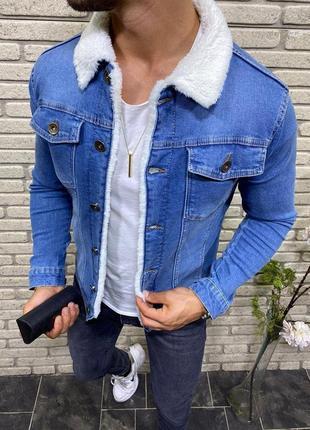 Мужская джинсовка на овчине