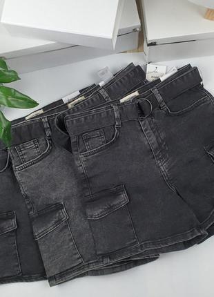Новые крутые джинсовые шорты карго с карманами и поясом house