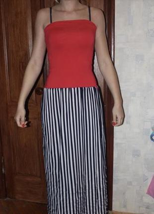 Платье футляр макси длинное красное полосатое лето