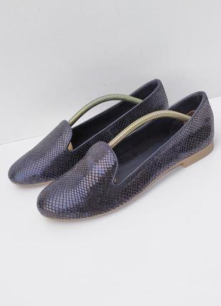 Кожаные туфельки хамелионы тёмно синего цвета