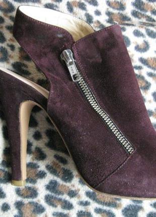 Босоножки-туфли бордовые замшевые