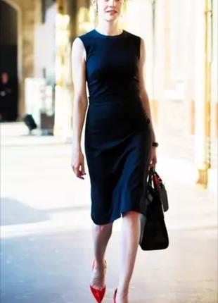 Трендовое базовое платье футляр next миди темно синее в полоску размер 14