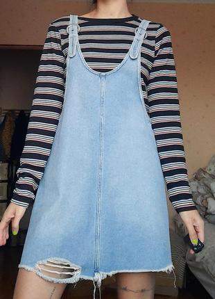 Сарафан комбинезон с юбкой джинсовый платья рваное на ремешках