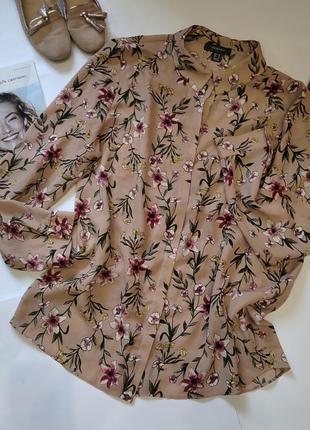 Нюдовая блузка,рубашка батал ,в цветочный принт