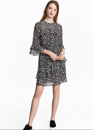 Шифоновое платье мини h&m в цветочный принт.