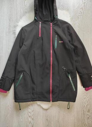 Черная длинная короткая куртка на флисе спортивная деми с капюшоном карманами большой разм