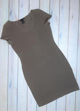 Базовое трикотажное кофейное платье по фигуре h&m, размер 44 - 46