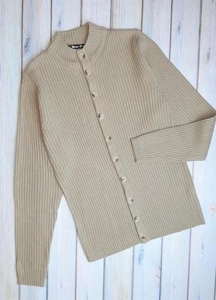 Базовая бежевая кофта рубчик свитер на пуговицах кардиган brave soul, размер 48 - 50