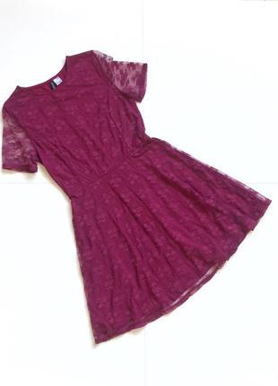 Красивое ажурное платье бордо. р. м