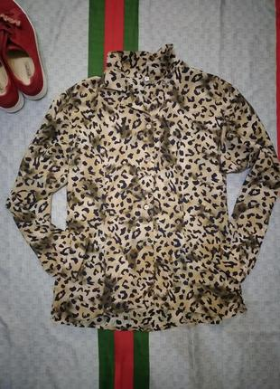 Рубашка сорочка  блуза в леопардовый принт из вискозы натуральные пуговицы
