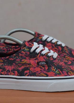 Черные кеды, кроссовки в красные цветы vans, 40.5 размер. оригинал