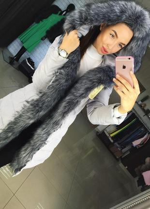 ✅ куртка с шикарным мехом эко чернобурка ::рр 44-46