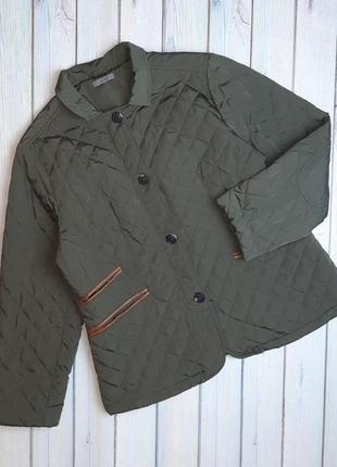 Стильная женская стеганная куртка демисезон хаки montego, размер 52