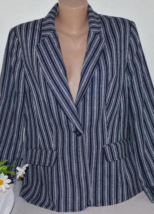 Брендовый синий пиджак жакет с карманами в белую полоску tu вьетнам акрил этикетка