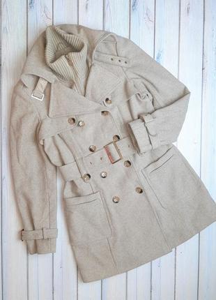 Шикарное теплое плотное бежевое двубортное шерстяное пальто yessica, размер 44 - 46