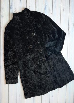 Модная черная двубортная шуба тедди оверсайз, размер 46 - 48