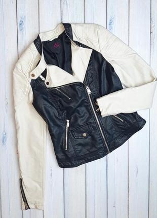 Модная черная кожаная куртка косуха кожанка ann christine, размер 42 - 44