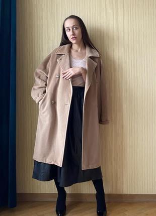 Оригинал max mara благородное двубортное бежевое шерстяное пальто