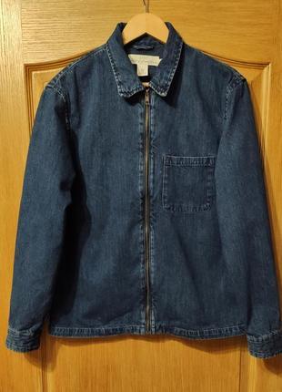 H&m мужская джинсовая рубашка на молнии