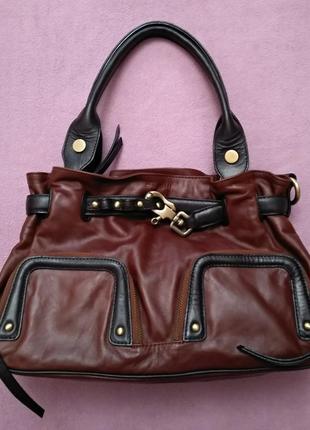 Стильная женская кожаная сумка коричневая шкіряна сумка dimoni испания