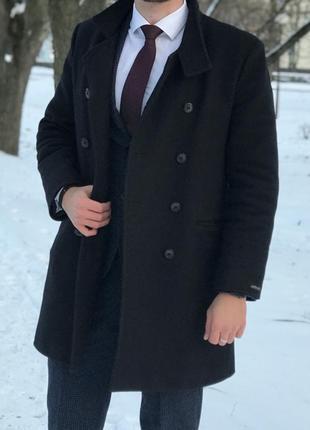 Мужское двубортное кашемировое пальто