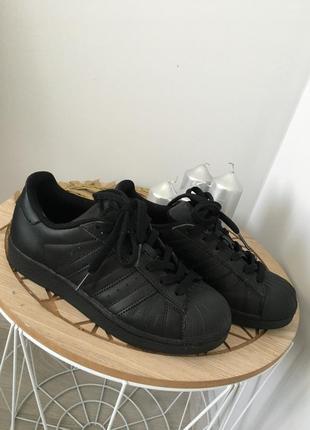 Чёрные кроссовки adidas superstar j foundation оригинал