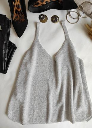 Майка в рубчик блуза с люрексовой нитью