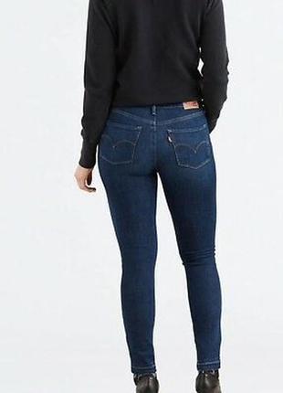 Синие темные джинсы скинни стрейч узкачи высокая талия посадка модель 311 levis женские