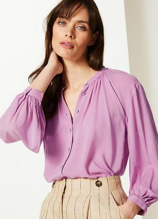 Шикарна/лілова  блуза marks&spenser для пишної леді з еко-органічної віскозної тканини 3xl