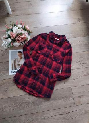 Актуальна котонова рубашка в червоно чорну клитку