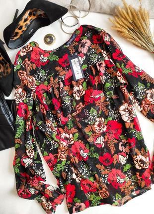 Шифоновая блуза с цветочным принтом маки