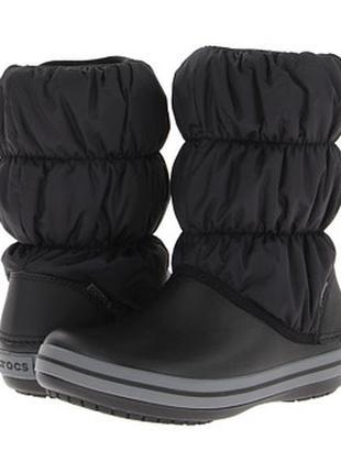 Зимние сапоги crocs winter puff boot, черные, w8