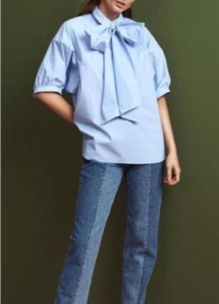 Хлопковая блуза h&m с бантом