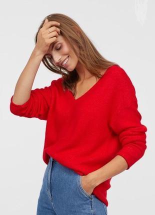 Красный свитер джемпер кофта с v-образным вырезом от h&m