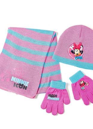 Комплект- шапка, шарф, перчатки минни маус disney (arditex)