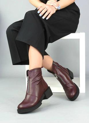 Женские ботинки бордо на низком ходу натуральная кожа bris 1-6