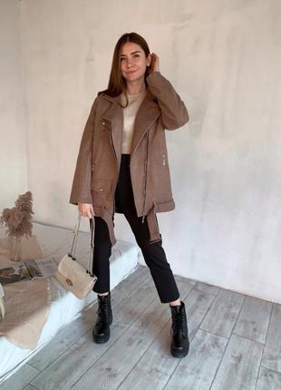 Шерстяное пальто-косуха утепленное с карманами