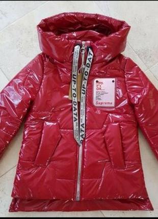 Красная балоновая куртка хамелеон