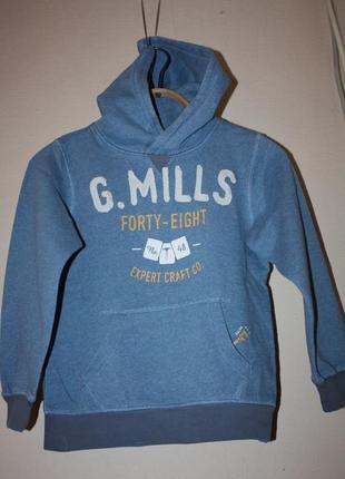Толстовка светло=голубого цвета с капюшоном ф.h&m l.o.o.g р-134-140 в отличном состоянии